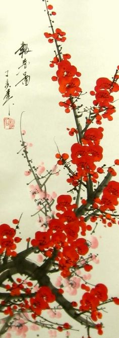 Chinese Brush Painting of Red Plum Blossoms