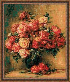 Riolis Bouquet of Roses - Cross Stitch Kit. Complete kit includes 14 Ct White Aida, woolen and acrylic yarn, Anchor Cotton floss, color chart, needle, and instr