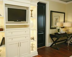 Black doors, ivory walls, white cabinets, dark floors = my new house colours!