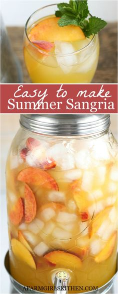 This refreshing and easy to make Summer Sangria with white wine simple syrup brandy peach slices guava juice and lemon-lime soda. White wine sangria is super easy to make with only a few ingredients. (easy to make) Peach Sangria Recipes, White Peach Sangria, White Wine Sangria, Brandy Sangria, Orange Recipes, Orange Juice Cocktails, Peach Drinks, Summer Sangria, Summer Cocktails