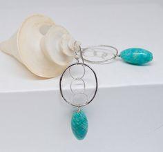 Silver Circle Earrings . Aqua Amazonite Drops by MalibuJewel