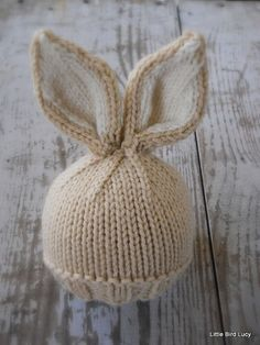 Knit Baby Bunny / Newborn Hat, Easter Rabbit, Knitted Photo Prop, Biscuit with Cream Inner Ears, Cus : how to loom knit a bunny hat ile ilgili görsel sonucu Knitting For Kids, Loom Knitting, Knitting Projects, Baby Knitting, Free Knitting, Knitting Patterns, Crochet Patterns, Knit Crochet, Crochet Hats