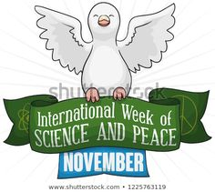 Happy, smiling dove flying and holding a greeting ribbon, decorated with peace and atom symbols to commemorate International Week of Science and Peace in November. Dove Flying, November, Royalty Free Stock Photos, Ribbon, Symbols, Science, Peace, Smile, Christmas Ornaments