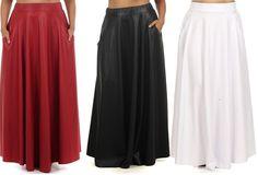 Plus Sz Faux Leather High Waist Side Pocket Full Sweep Long Maxi Skirt 1x 2X 3X | eBay