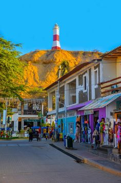 Lighthouse & Shops - Downtown Mancora, Peru- I REALLY want to go there. Beautiful Places To Visit, Wonderful Places, Beautiful World, Beautiful Scenery, Machu Picchu, Central America, South America, Latin America, Bolivia