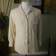 Summer Yellow Blouse Button front blouse with button cuff with two front pockets with flap closure. Talbots Tops Button Down Shirts