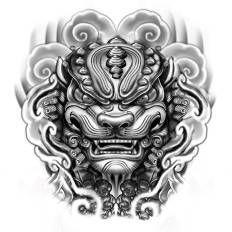 fu dog head tattoo - Google Search
