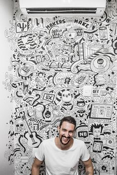 Ideas For Wall Drawing Cafe Chalk Art Mural Wall Art, Graffiti Wall, Painting Murals On Walls, Wall Paintings, Wall Art Designs, Wall Design, Office Wall Graphics, Doodle Wall, Office Mural