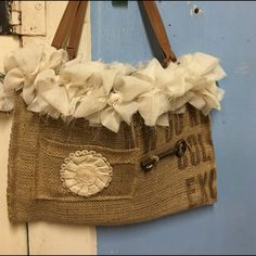 Vintage burlap purse Cute new purse with pockets inside Bags Satchels