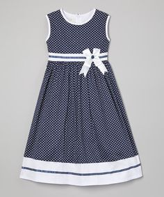 Look what I found on #zulily! Blue Polka Dot Sash A-Line Dress - Toddler & Girls #zulilyfinds