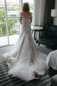 This fairy bridal gown features cascading ruffled cathedral train. Delicate lace goes with dreamy tulle skirt, it combines so well with an off-the-shoulder neckline on top. Affordable Wedding Dresses, Designer Wedding Dresses, Cathedral Train, Tulle Wedding, Bridal Gowns, Off The Shoulder, Mermaid, Dress Shoes, How Are You Feeling