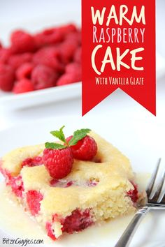 Warm Raspberry Cake with Vanilla Glaze - just like your mom used to make! A delicious cake with fresh raspberries baked in and topped with a sweet vanilla glaze!