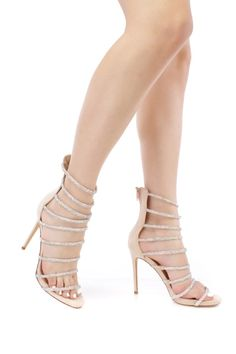 Nude Cage Strappy Fabric High Heels