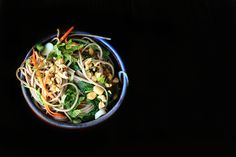 soba noodle veggie bowl - a little gingery garlicky peanuty dressing with a touch of spice would be very good.... cold or warm actually.