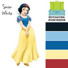 Snow White Disneybound Color Palette Disney Princess Colors, Disney Colors, Colour Schemes, Color Combos, Disney Destinations, Disney Bound Outfits, Princess Coloring, Disney Planning, Disney Crafts