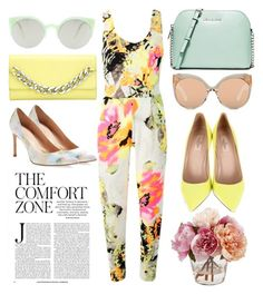 """""""The Comfort Zone"""" by cherieaustin ❤ liked on Polyvore featuring RetroSuperFuture, Thomas Wylde, MICHAEL Michael Kors, Valentino, Linda Farrow and Stuart Weitzman"""