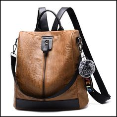 Retro Brown Vertical Zipper Multi-function Travel Bag Leather Backpack #bag #Backpack #school #retro Leather School Backpack, Lace Backpack, Backpack Outfit, Backpack Bags, Fashion Backpack, Diaper Backpack, Diaper Bags, Duffle Bags, Canvas Backpack