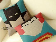 Superman Batman  linen cushion pillow cover sofa by WarmthCanvas, $16.99