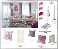 Une touche de bonne humeur avec le rose dans le salon // http://www.deco.fr/tendance-deco/planches-de-styles-une-touche-de-bonne-humeur-avec-le-rose-dans-un-salon/?utm_source=oreillette&utm_medium=fil&utm_campaign=castorama