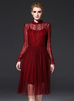 Lace Solid Long Sleeve Mid-Calf Casual Dresses (1016681) @ floryday.com