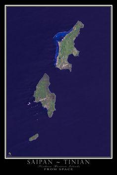 Saipan Tinian Northern Marianas Satellite Map