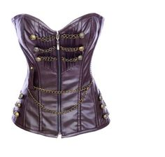 Angel&Me Sexy XX-Large Size brwon PU/PVC Steampunk Overbust Front Zip up Corset Bustiers SHDI2854kafei-XX-Large [Was: $48.88 - Buy Now: $28.88 ]