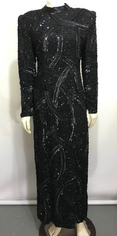 fdce368ace Judith Ann Creations Women S Black Sequins Formal Gown Dress Long Sleeve  Vintage  JudithAnnCreations