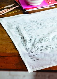 What's more riveting than the love letters of famous writers over the centuries? From tabletop company Sir/Madam, mash notes replicated on cloth napki