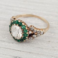 Antique Victorian Diamond and Emerald Engagement Ring