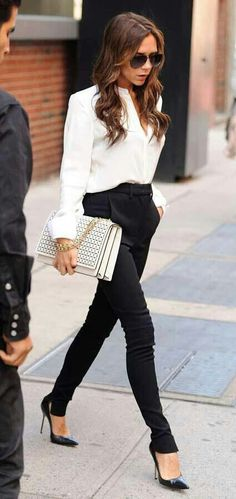 Professional, classy, casual style of Victoria Beckham