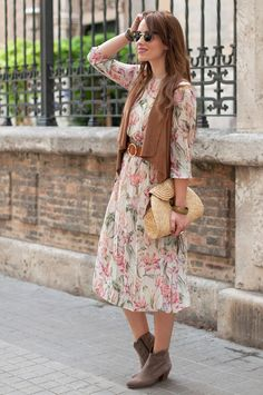 MIDI FLOWERS DRESS - Macarena Gea