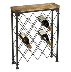 Best Wine Rack | Reclaimed Wood  Oxidized Iron Wine Rack Console Table * Want additional info? Click on the image. Note:It is Affiliate Link to Amazon.