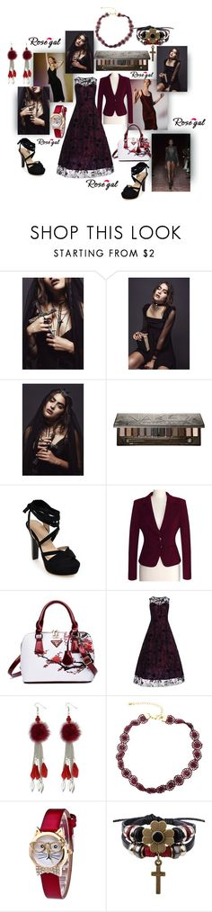 """sexy, dark rosegal tulle lace overlay maxi"" by caroline-buster-brown ❤ liked on Polyvore featuring Privé, Julien Macdonald and Urban Decay"