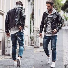 Men's Stylish Motorcycle Slim fit Black Genuine Leather Sweat Jacket #SweatJacket