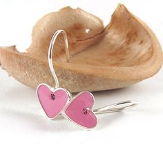 Tiny Pink Heart Earrings silver dangle earrings by SigalitAlcalai, $30.00