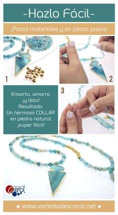 9658b1e19c56 Dale un toque fresco a tu look con este hermoso collar en piedra natural y…