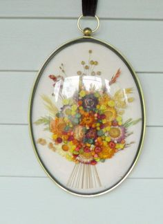 Vintage 1970's Set of Two Dried Flowers Wall Art in by RetroVault