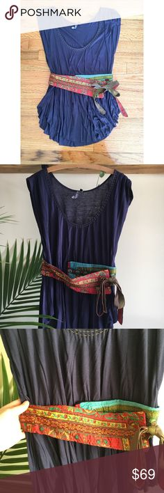 Anthropologie top with patchwork belt One September by Anthropologie   Size M  Worn once/excellent condition   Navy blue top with a sewn in patchwork obi belt! Absolutely adorable and received many compliments on this the one time I wore it!  *first pic is a diff color but same shirt* Anthropologie Tops Tees - Short Sleeve