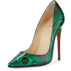 Christian Louboutin So Kate Marbled Red Sole Pump (3.180 RON) ❤ liked on Polyvore featuring shoes, pumps, low pumps, slip-on shoes, red sole pumps, christian louboutin and pointy toe shoes