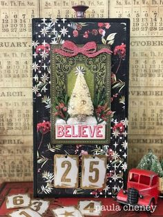 Countdown Advent calendar with products by Tim Holtz Vintage Christmas Crafts, Xmas Crafts, Christmas Projects, Christmas Decorations, Retro Christmas, Christmas Shadow Boxes, Christmas Tag, All Things Christmas, Christmas Vignette