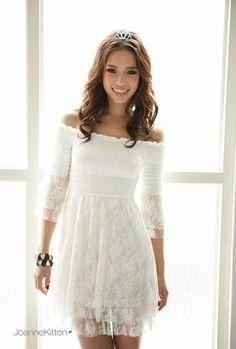Vestido branco com saia de renda e decote ombro aberto - frete grátis - LEIA DESCRIÇÃO COM PRAZO DE ENTREGA