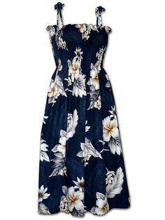 edc56d9ef6c Hibiscus Navy Cotton Hawaiian Tube Midi Dress