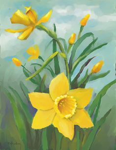 Yellow Daffodils Greeting Cardoil by DessieFullTimeArtist on Etsy, $5.00
