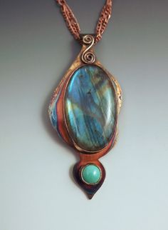 Blue Green Labradorite and Turquoise- Rainbow Patina- One of a Kind- Metal Art Necklace on Etsy, $188.95 CAD