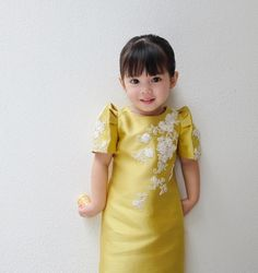A cute little girl wears Filipiniana. Modern Filipiniana Gown, Filipiniana Wedding Theme, Wedding Gowns, Cute Little Girls, Little Girl Dresses, Flower Girl Dresses, Flower Girls, Bridal Dresses, Toddler Dress