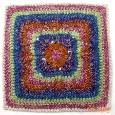Moogly CAL Afghan Block Festival of Fall Square by Elena Hunt on Beatrice Ryan Designs. Crochet Squares Afghan, Crochet Blocks, Granny Square Crochet Pattern, Afghan Crochet Patterns, Granny Squares, Crochet Motif, Blanket Crochet, Crochet Afghans, Crochet Granny