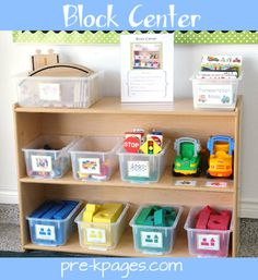 Organized Block Center via www.pre-kpages.com #preschool #kindergarten.  I like the idea of here is what a clean center looks like picture on top of the center