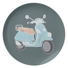 Retro Vespa Scooter Party Plates
