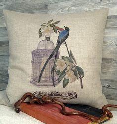 Linen Bird Print French Vintage Inspired Pillow by ellenidesign, $38.00