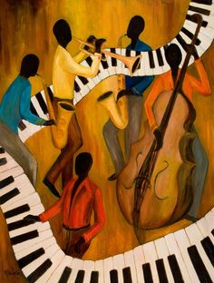 African American Art Art - The Get-Down Jazz Quintet by Larry Martin Music Painting, Music Artwork, African American Art, African Art, Canvas Art, Canvas Prints, Art Prints, The Get Down, Jazz Art